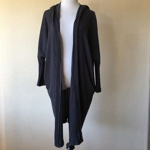 Audrey 3+1 blue ribbed Open Front cardigan